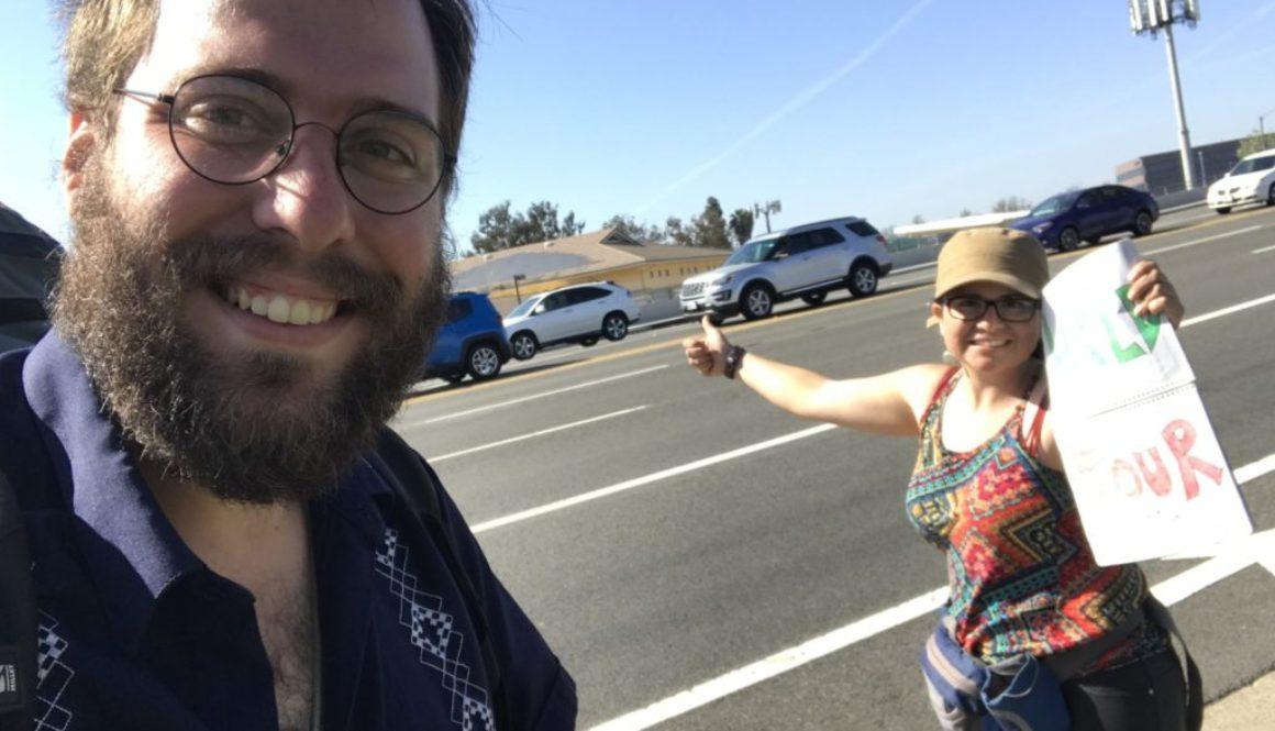 Pidiendo raite hacia Los Ángeles